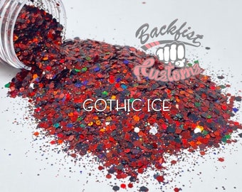 GOTHIC ICE || Solvent Resistant, Chunky Mix Holographic Glitter