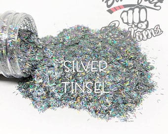 SILVER TINSEL || Tinsel Glitter, Solvent Resistant