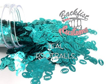 TEAL FOOTBALLS || Football Shaped Glitter, Solvent Resistant