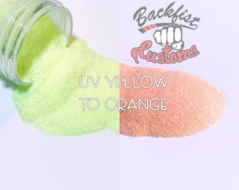UV YELLOW to ORANGE  || Solar Activated Glitter changes from Yellow to Orange