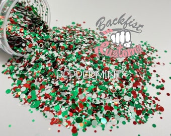 PEPPERMINT DOTS || Red, White, And Green Mixed Dot Shaped Glitter