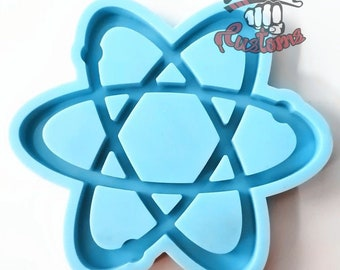 LARGE ATOM COASTER mold  5.5in x 5.5in || 1 Silicone mold