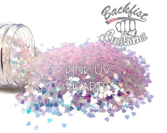 PINK UV HEARTS || Heart Shaped Uv Activated Glitter changes from White to Magenta