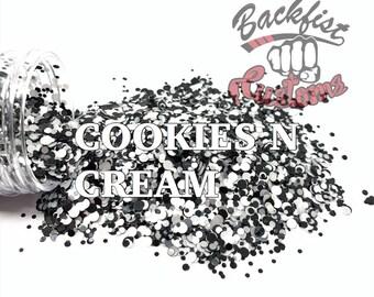 COOKIES n CREAM DOTS || Multi Shaped Black and White Glitter confetti