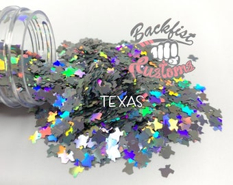 TEXAS    State of Texas Shaped Glitter, Solvent Resistant