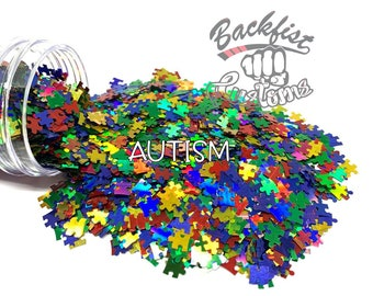 AUTISM || Autism Inspired  Puzzle Shaped Glitter