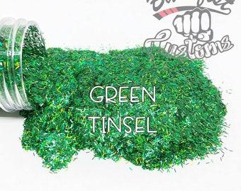GREEN TINSEL || Tinsel Glitter, Solvent Resistant