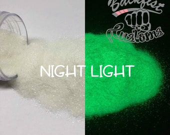 NIGHT LIGHT || Opaque Chunky Phosphorescent Glitter, GREEN Glow in the Dark