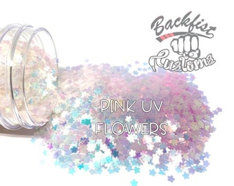 PINK UV FLOWERS || Flower Shaped Uv Activated Glitter changes from White to Magenta