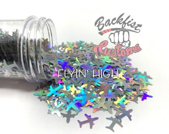 FLYIN HIGH || AIRPLANE Shaped Glitter, Solvent Resistant