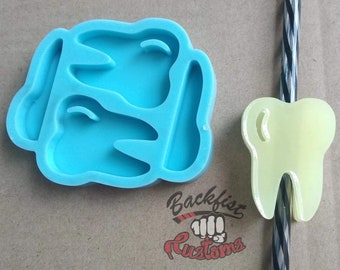 Halves     TOOTH Straw Topper 1.5in x 2in    Silicone mold