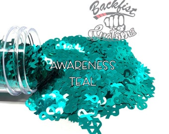 AWARENESS TEAL    BFC Exclusive Ribbon Shaped Glitter