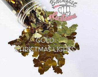 GOLD CHRISTMAS LIGHTS || Christmas Light bulb  Shaped Glitter