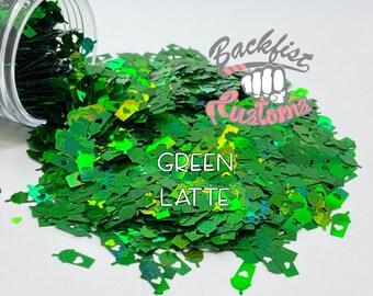 GREEN LATTE || Coffee Cup Shaped Glitter