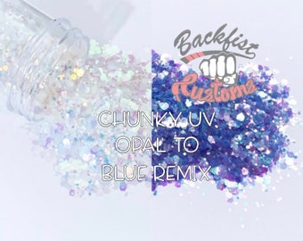 UV Opal to Blue  Remix ||  Chunky Mix UV Activated Glitter changes from White to Blue