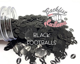 BLACK FOOTBALLS    Football Shaped Glitter, Solvent Resistant