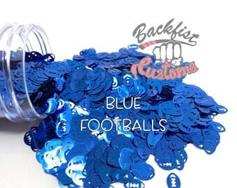 BLUE FOOTBALLS || Football Shaped Glitter, Solvent Resistant