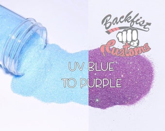 UV BLUE to PURPLE    Solar Activated Glitter changes from Blue to Purple