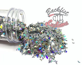 SILVER MOONS || Cresent Moon Shaped Glitter  Solvent Resistant