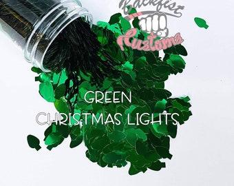 GREEN CHRISTMAS LIGHTS || Christmas Light bulb  Shaped Glitter