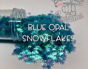 BLUE OPAL SNOWFLAKES ||  Snowflake Shaped Glitter