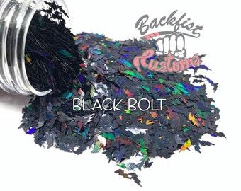 BLACK BOLT    Chunky Lightning Bolt Shaped Glitter, Solvent Resistant