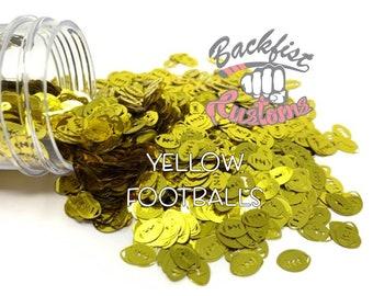 YELLOW FOOTBALLS || Football Shaped Glitter, Solvent Resistant