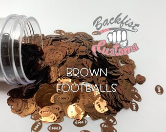 BROWN FOOTBALLS || Football Shaped Glitter, Solvent Resistant