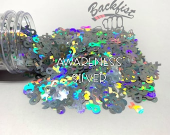 AWARENESS SILVER    BFC Exclusive Ribbon Shaped Glitter