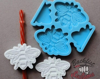 Halves     BUMBLE BEE Straw Topper 2.75in x 2in    Silicone mold