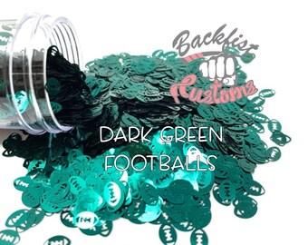 DARK GREEN FOOTBALLS || Football Shaped Glitter, Solvent Resistant