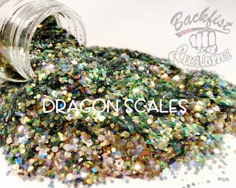 DRAGON SCALES || Transparent Chunky Glitter Mix, Solvent Resistant