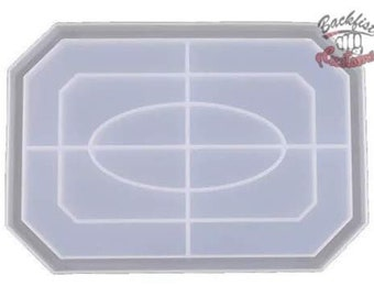 RECTANGLE FLAT corners ROLLING Tray mold 9.75in x 6.75in || 1 Silicone mold