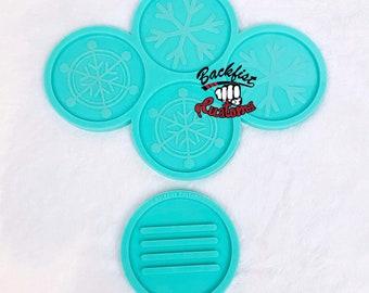 CUSTOM SNOWFLAKE COASTER set with Holder mold 4in coasters || 4 coaster molds and 1 holder mold