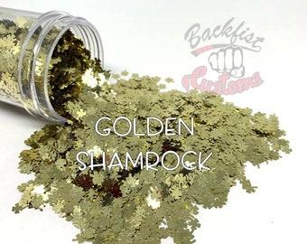GOLDEN SHAMROCK     4 Leaf Clover shaped  Glitter