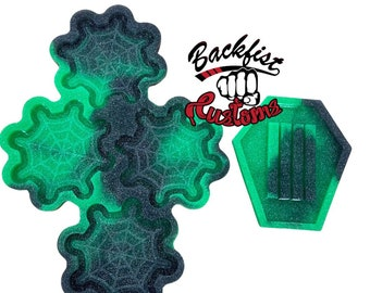 CUSTOM SPIDER WEB Coaster set with coffin holder qty 4 in 1 mold ( 4.25in x 4.25in ) & 1 holder ( 4in x 4.75in)