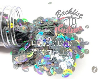 HOLO SILVER FOOTBALLS || Football Shaped Glitter, Solvent Resistant