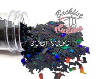 BOOT SCOOT || Cowboy Boot Shaped Glitter, Solvent Resistant