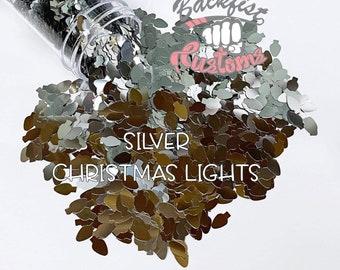 SILVER CHRISTMAS LIGHTS    Christmas Light bulb  Shaped Glitter