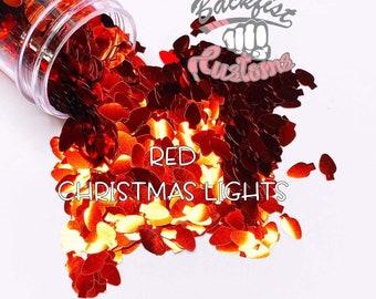 RED CHRISTMAS LIGHTS    Christmas Light bulb  Shaped Glitter