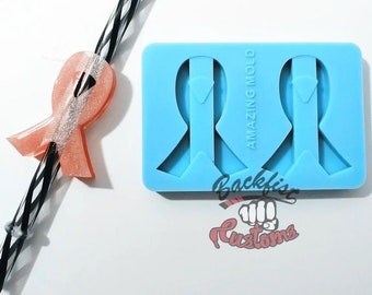 Halves    AWARENESS RIBBON Straw Topper    Silicone mold