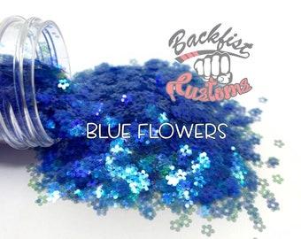 BLUE FLOWERS    Flower Shaped Glitter  Solvent Resistant