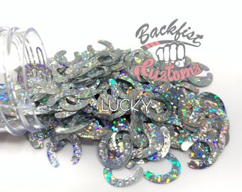 LUCKY    HORSE SHOE Shaped Glitter, Solvent Resistant