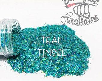 TEAL TINSEL || Tinsel Glitter, Solvent Resistant