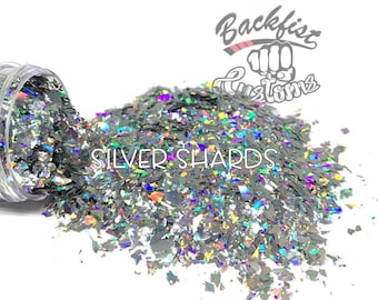 SILVER SHARDS     Chunky Mix Holographic Broken Shards of Glitter