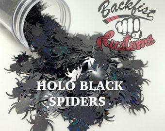 HOLO BLACK SPIDERS || Spider shaped glitter