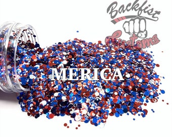 Merica DOTS || Multi Shaped Red, White and Blue Glitter