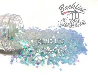 BLUE UV FLOWERS    Flower Shaped Uv Activated Glitter changes from White to Blue