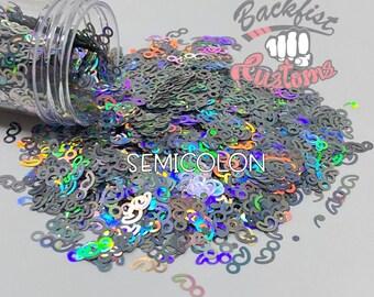 SEMICOLON || Holographic Semicolon Shaped Glitter