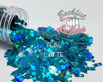 TEAL LATTE || Coffee Cup Shaped Glitter